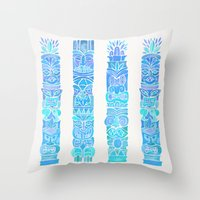 tiki Throw Pillows featuring Tiki Totems – Turquoise Palette by Cat Coquillette
