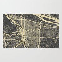 portland Area & Throw Rugs featuring Portland Map by Map Map Maps