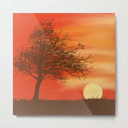 Faded Orange Sunset Metal Print