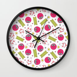 Modern pink green beach summer pattern typography Wall Clock
