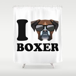 I Love Boxer modern v1 Shower Curtain