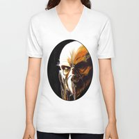 satan V-neck T-shirts featuring Dr. Satan by Zombie Rust