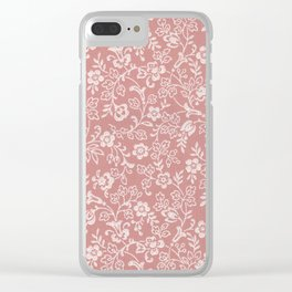 Mauve Rose Color Antique Floral Wallpaper Design Clear iPhone Case