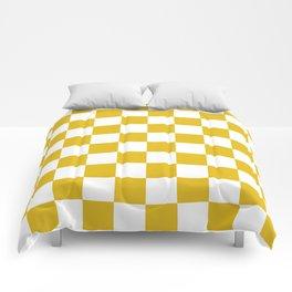 Mustard Yellow Checkers Pattern Comforters