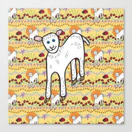 © Little Lamb with ladybugs pattern Canvas Print