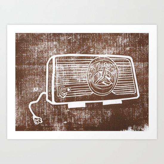 Vintage Radio Lino Art Print