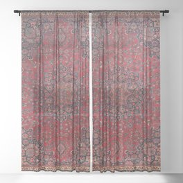 Old Century Persia Authentic Colorful Purple Blue Red Star Blooms Vintage Rug Pattern Sheer Curtain