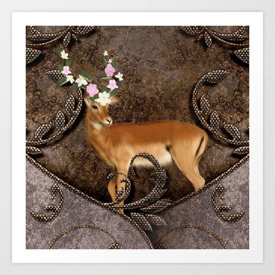 Wonderful antelope with flowers Art Print