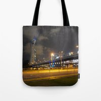 singapore Tote Bags featuring Singapore Flyer by juliet h