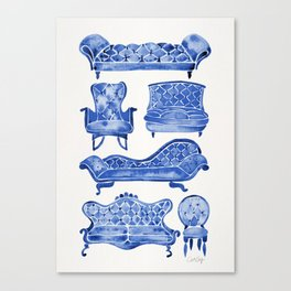 Victorian Lounge – Navy Palette Canvas Print