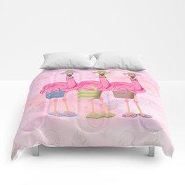 Flamingo Friends Shopping Comforters