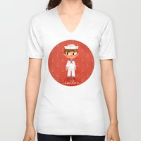 sailor V-neck T-shirts featuring Sailor by Anoosha Syed
