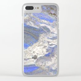 Arabescato-Orobico-Blue-Marble Clear iPhone Case