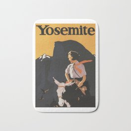 Retro Yosemite Travel Poster Bath Mat