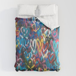 Love Hearts Abstract Graffiti Street Art Comforters