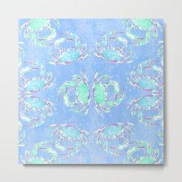 Watercolor blue crab Metal Print