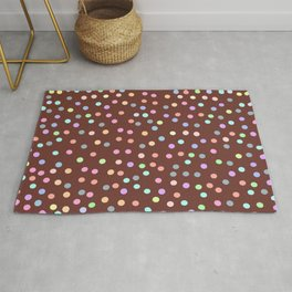 chocolate Glaze with sprinkles. Brown abstract background Rug