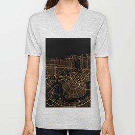 Black and gold New Orleans map Unisex V-Neck