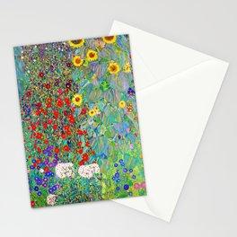 12,000pixel-500dpi - Gustav Klimt - Farm Garden with Sunflowers - Digital Remastered Edition Stationery Cards