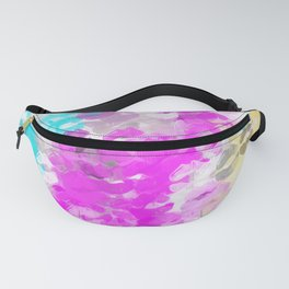 pink blue and orange kisses lipstick abstract background Fanny Pack