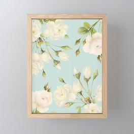 Vintage Sepia Redouté Pastel Cream Botanical Rose Flowers Framed Mini Art Print