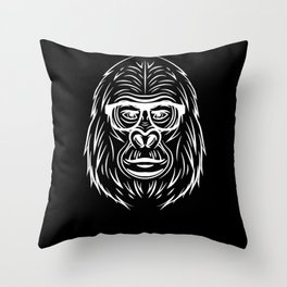 Gorilla King with Glasses Sunglasses Alpha Throw Pillow