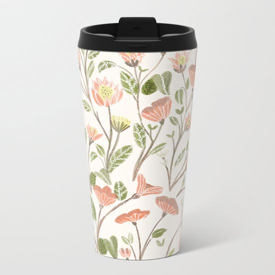 Spring Floral Pattern Metal Travel Mug