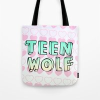 teen wolf Tote Bags featuring TEEN WOLF by Sara Eshak