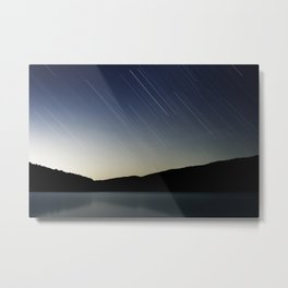Star trails over Stony Mountain Metal Print