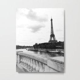 eiffel tower black and w Metal Print
