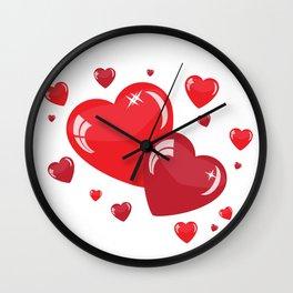 Red Hearts Wall Clock