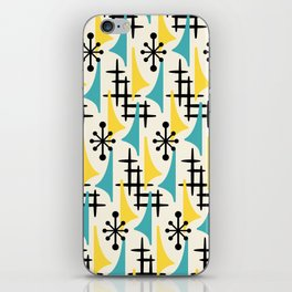 Mid Century Modern Atomic Wing Composition Turquoise & Yellow iPhone Skin