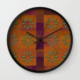 """Retro Squares & Flowers"" Wall Clock"