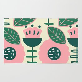 Modern flowers and leaves Rug