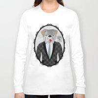 english bulldog Long Sleeve T-shirts featuring Mr. Dandy - English Bulldog by Rozenblyum Couture