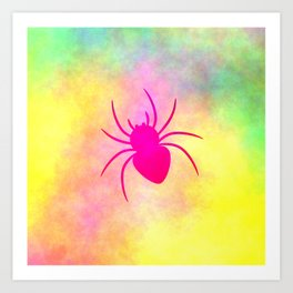 Pink spider under colorful clouds Art Print