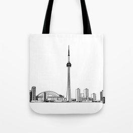 Toronto Skyline - Black on White Tote Bag