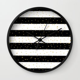 Black white gold faux glitter stripes polka dots  Wall Clock