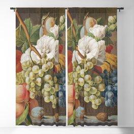 Stilleven met bloemen en fruit in een mandje (ca 1791) in high resolution by Anthony Oberman Blackout Curtain