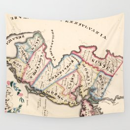 Vintage Map of New Jersey (1819) Wall Tapestry