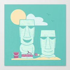 Easter Island Summer Fun Canvas Print