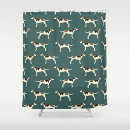 Tree Walker Coonhounds in Green Shower Curtain