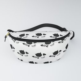 Black and White Cat Cute Pattern Fanny Pack