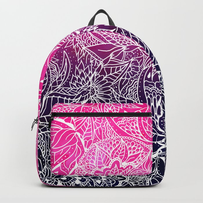 Boho pink navy blue watercolor ombre white abstract floral mandala illustration pattern Backpack