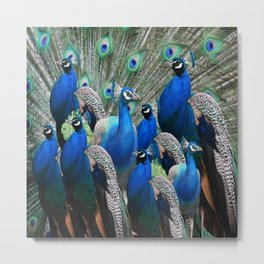 FLOCK OF BLUE PEACOCKS Metal Print