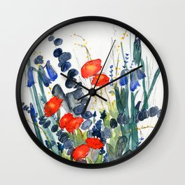Eucalyptus & Iris with Vermillion Wall Clock
