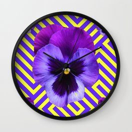 CONTEMPORARY PURPLE PANSIES  FLOWERS YELLOW PATTERNS Wall Clock