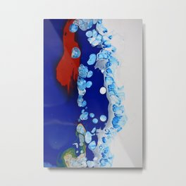Navy Burgundy Fluid Art Cells Bubbles Unique Metal Print