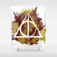 deathly hallows Shower Curtains featuring The Deathly Hallows (Gryffindor) by FictionTea