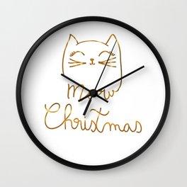 Meow Christmas- Merry Chrismtmas Wall Clock
